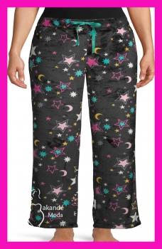 M-1607NE Pantalón Calentito Pijama. NEGROS ESTRELLAS.