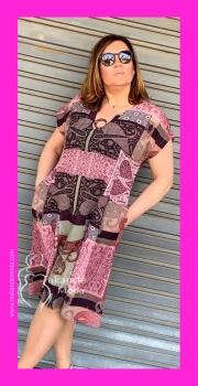 I- 5125-R Vestido Estampado tonos Rosas
