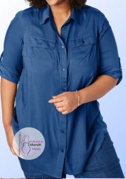 M - 4050 Camisa Color Azul Tejano lisa