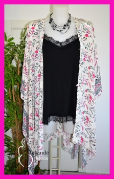 M-55345-B Kimono Étnico Seda BLANCO