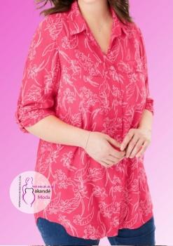 M - 4047 Camisa Botones Rosa Estampada