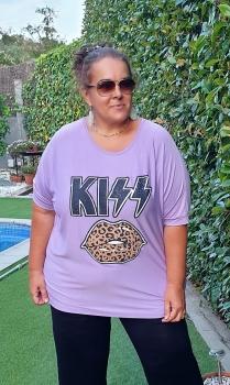 M-3317c Camiseta Kiss(Celeste y Lila ) - (Low Cost).