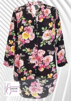 M - 3006 - C Blusa Larga Negra Flores