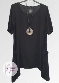 IG- 3604 Casaca Lisa (Negra, Teja) Collar Incluido.