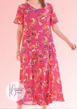 M-3036 Vestido Bambula Rosa Manga Corta