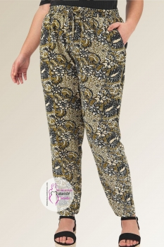 M- 3064 Pantalones Frescos Kaki & Negro.