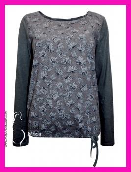 M-3110-A Camiseta Flores. GRIS.
