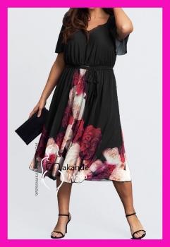 M-3009 Vestido Negro Doble Gasa Rosas en el cuerpo