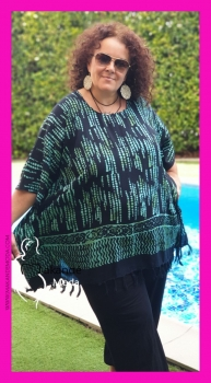 M-2301-NGV Poncho Normal NEGRO-VERDE