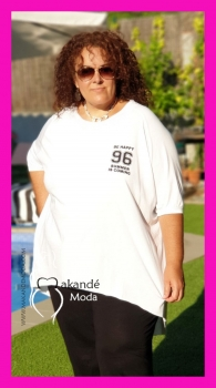 M-2026-B Camiseta-Sudadera 96 Algodón. BLANCA.