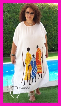 M-2101-B  Poncho Mediano Tribal Blanco