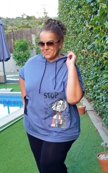 M- 3315 Camiseta tipo sudadera ( Lila, Azul, Blanca ) - (Low Cost).