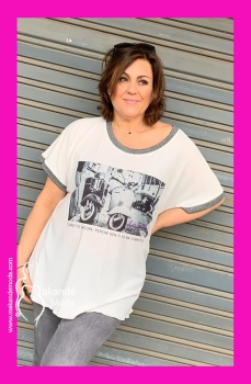 I-3604-B Camiseta motorcycle. BLANCA.