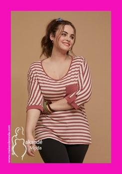 S-20160-RO Camiseta rayas bolsillo. ROSA.